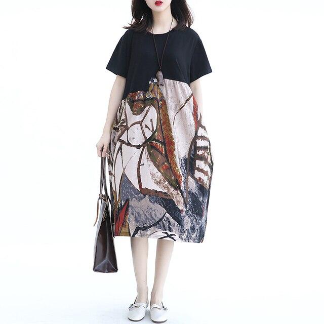 US $23.99 49% OFF|KMETRAM Summer Dresses Women Plus Size Loose Vestido  Female Cotton Linen Dress Ladies Black Casual Dress 2019 Long Jurk MY374-in  ...