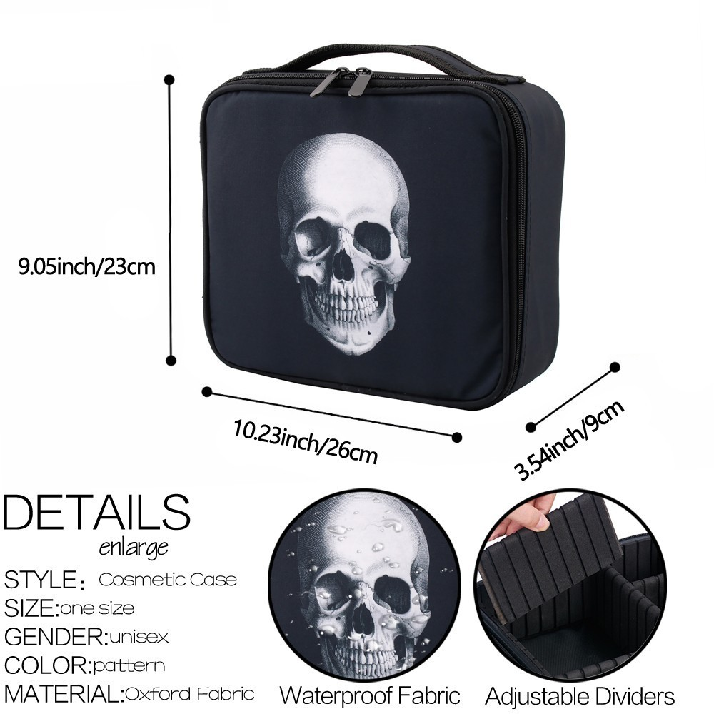 Image 5 - Deanfun Skull Makeup Case Portable Cosmetic Bag Black Train Cases with Adjustable Dividers Travel Organizer 16002-in Cosmetic Bags & Cases from Luggage & Bags