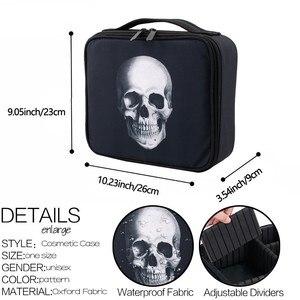 Image 5 - Deanfun étui de maquillage crâne Portable sac cosmétique noir cas de Train avec diviseurs réglables organisateur de voyage 16002