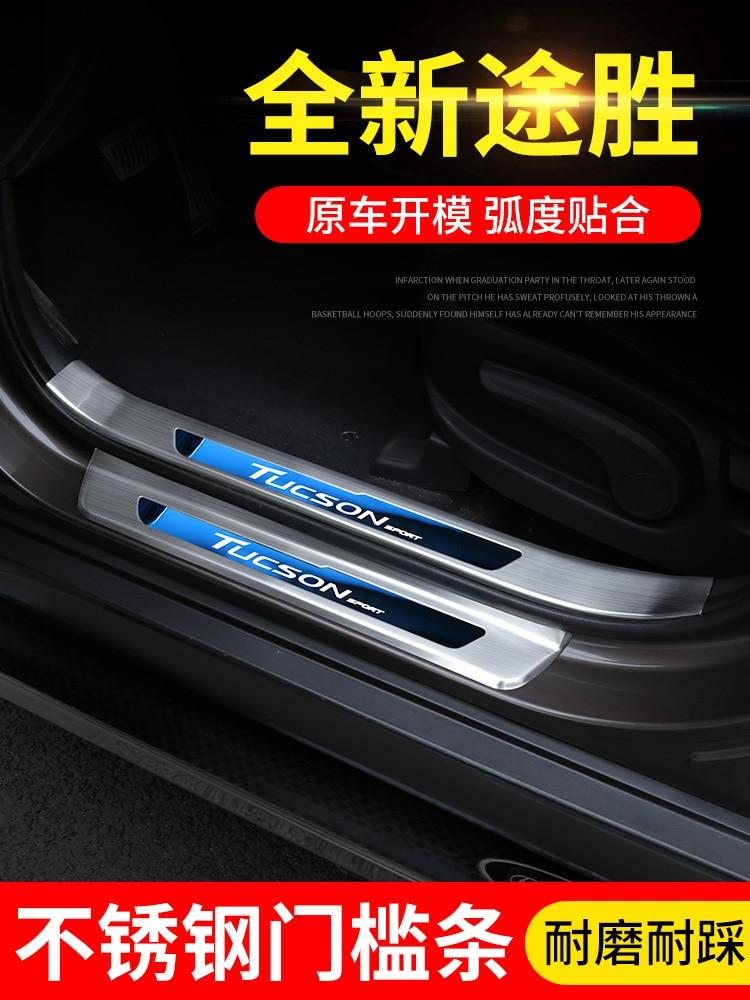De alta Qualidade Em Aço Inoxidável placa scuff do peitoril da porta da Guarnição Para Hyundai Tucson 2015 2016 2017 2018 2019 Acessórios Do Carro Do Carro -styling