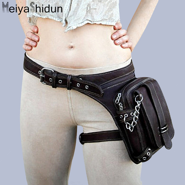 MeiyaShidun Leather Unisex Waist Pack Fanny Leg Bags Thigh Belt Motorcycle Ride Punk purse Messenger Shoulder Holster Goth Packs