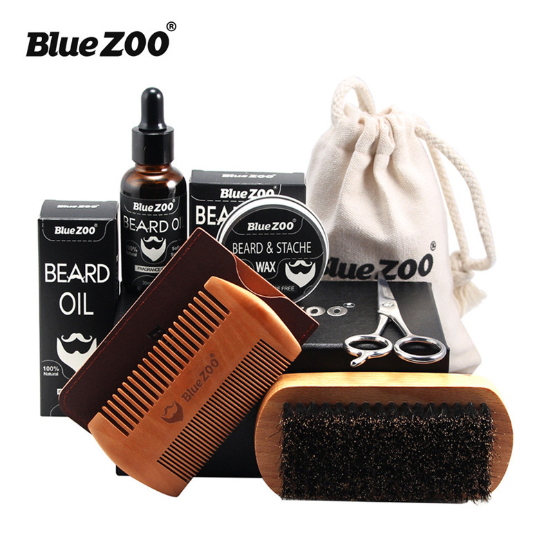 Blue ZOO 7pcs Men's Beard Care Beard Oil Kit with Beard Wax, Brush, Comb, Scissors Grooming & Trimming Kit Male Beard Care Set