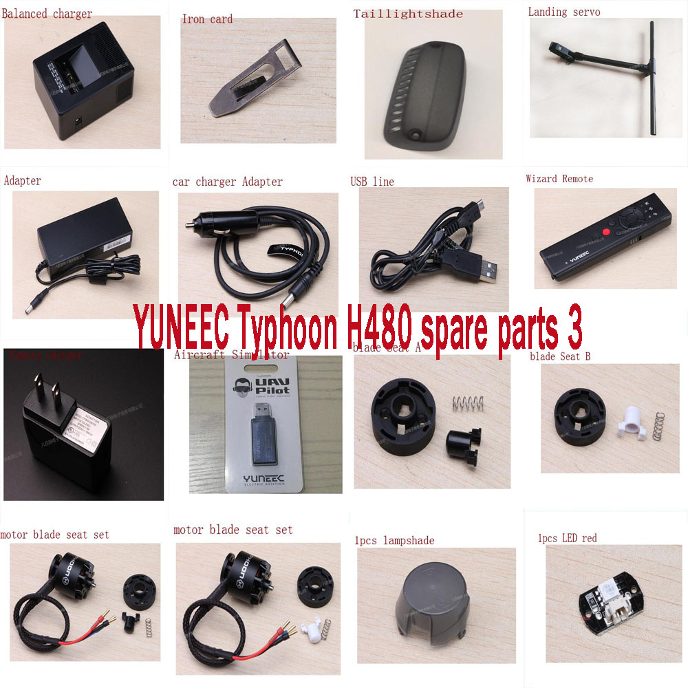 YUNEEC Typhoon H480 FPV Drone RC Quadcopter spare parts motor charger adapter Landing servo LED lampshade blade seat set3