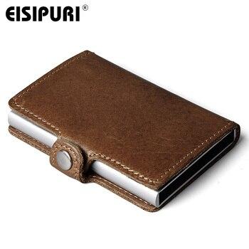 Eisipuri 남자 차단 rfid 지갑 미니 정품 암소 가죽 알루미늄 신용 카드 홀더 지갑 자동 팝업 카드 케이스