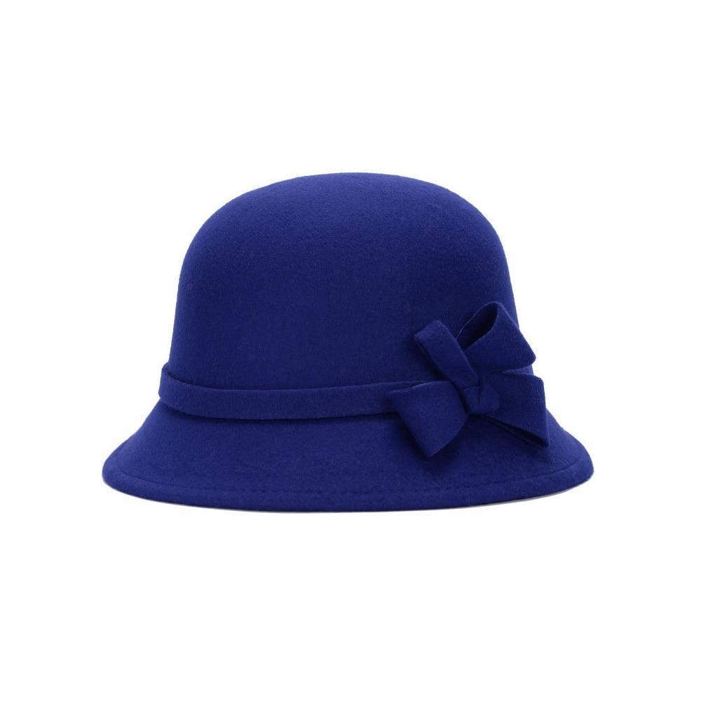 Широкополая шляпа винтажные шляпы дамская шляпа с бантом Повседневная шерстяная зимняя фетровая шляпа Регулируемая пляжная дорожная - Цвет: dark blue
