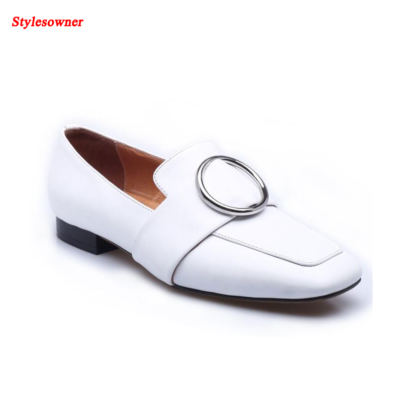 ФОТО Stylesowner Women Leisure Lofers Shoes Squared Toe Black White Fashion Shoes Round Metal Buckle Casual Shoes Female Modern Shoe