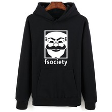 Mr Robot Gray Black 4XL Hooded Sweatshirt Men Hip Hop in Winter Warm Autumn Style Mens Hoodies and Sweatshirts Oversized