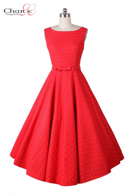 Vintage Lace Dress Gorgeous Solid Red/White Sleeveless Mid Calf ...