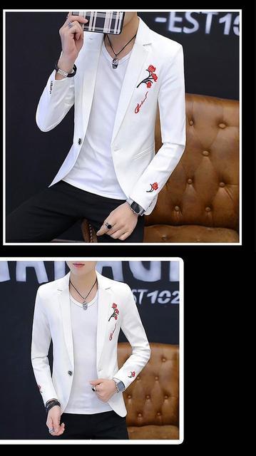 YAUAMDB men blazer 2018 spring autumn size M-2XL male embroidery blazer single button jacket turn-down collar slim coat y80