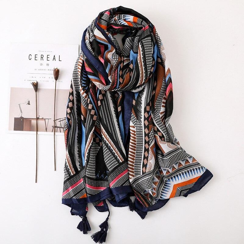 Women Scarf Geometric Large Blanket Wrap Fashion Long Tassel Shawl Ethnic Head Scarf Hijab HOT [0223]