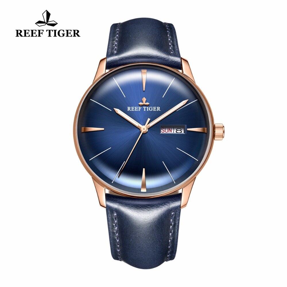 Риф Тигр/RT Элитная одежда часы Для мужчин ремешок из натуральной кожи синего часы автоматические механические часы Водонепроницаемый Дата ...