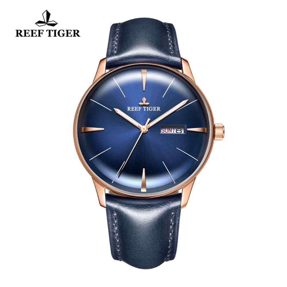 Reef Tiger/RT reloj de lujo reloj hombres correa de cuero genuino azul reloj automático relojes mecánicos fecha impermeable reloj RGA8238