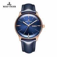 2018 New Reef Tiger/RT Dress Watches for Men Blue Dial Convex Lens Glass Automatic Watches Leather Brand RGA8238