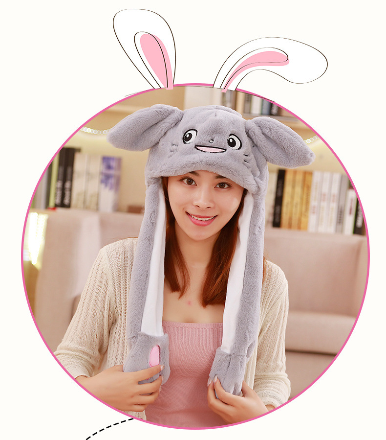 Plush hat The Ear can Move up and Down Winter Spring Warm hat Very Interesting WXX Bunny hat Female Cute Animal hat
