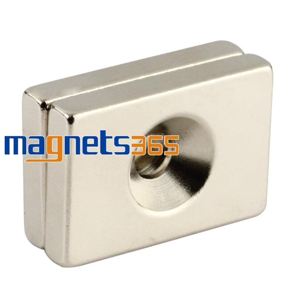 2pcs N50 Block Counter Sunk Magnets 30 x 20 x 5 mm Hole 5mm Rare Earth Neodymium 10050044w diy rectangular ndfeb magnets silver 30 x 20 x 5mm 2 pcs