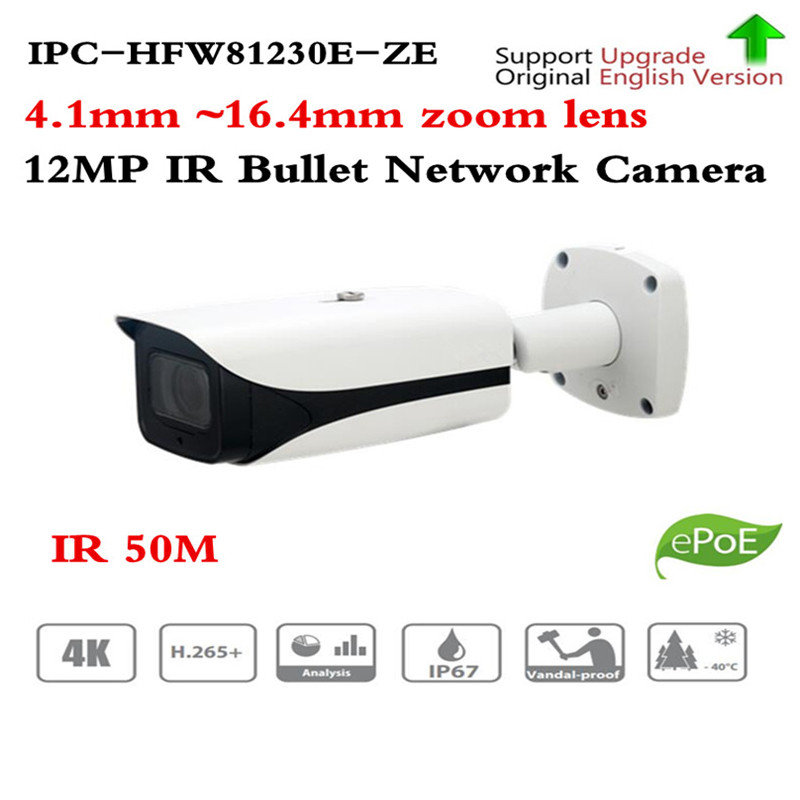 Caméra ip d'origine ahua IPC-HFW81230E-Z 4 K Ultra HD Super 12MP caméra IP 50 mètres IPC-HFW81230E-ZE de vision nocturne HFW81230E-Z