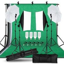 Kit de iluminação ajustável, tamanho máximo 2m x 3m, sistema de suporte de fundo, 3 cores, backdrop, softbox, conjuntos de estúdio de fotos kit contínuo