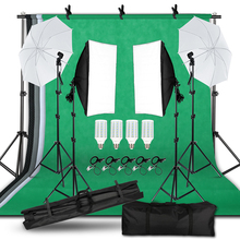 Lighting Kit Adjustable Max Size 2Mx3M Background Support System 3 Color Backdrop Photo Studio Softbox Sets Continuous  Kit