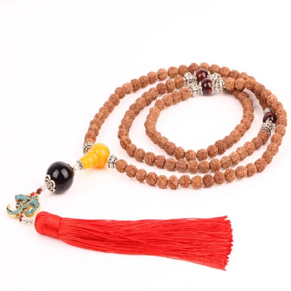 Hot Sale Indonesia Five Petal Natural Rudraksha 108 Beads Mala Yoga OM 3D Red Tassel Pendant Stand Necklace / Bracelet Wholesale