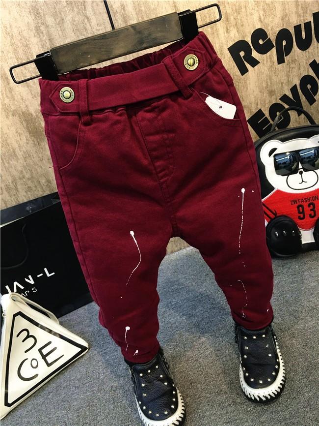 children baby boys autumn winter thick warm jeans pants (14)