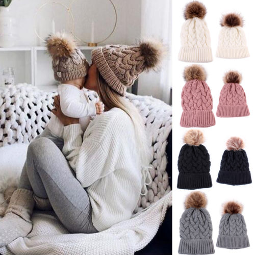 5be24b59f4a Mother Baby Daughter Son Winter Warm Knit Hat Family Crochet Fur Beanie Ski  Cap Women Knitted Beanies With Plush Ball