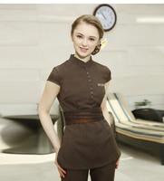 Latest Clothing 2016 Custom Apparel Coffee Three Quarter Sleeve SPA Uniforms Female Salon Work Wear Beauty