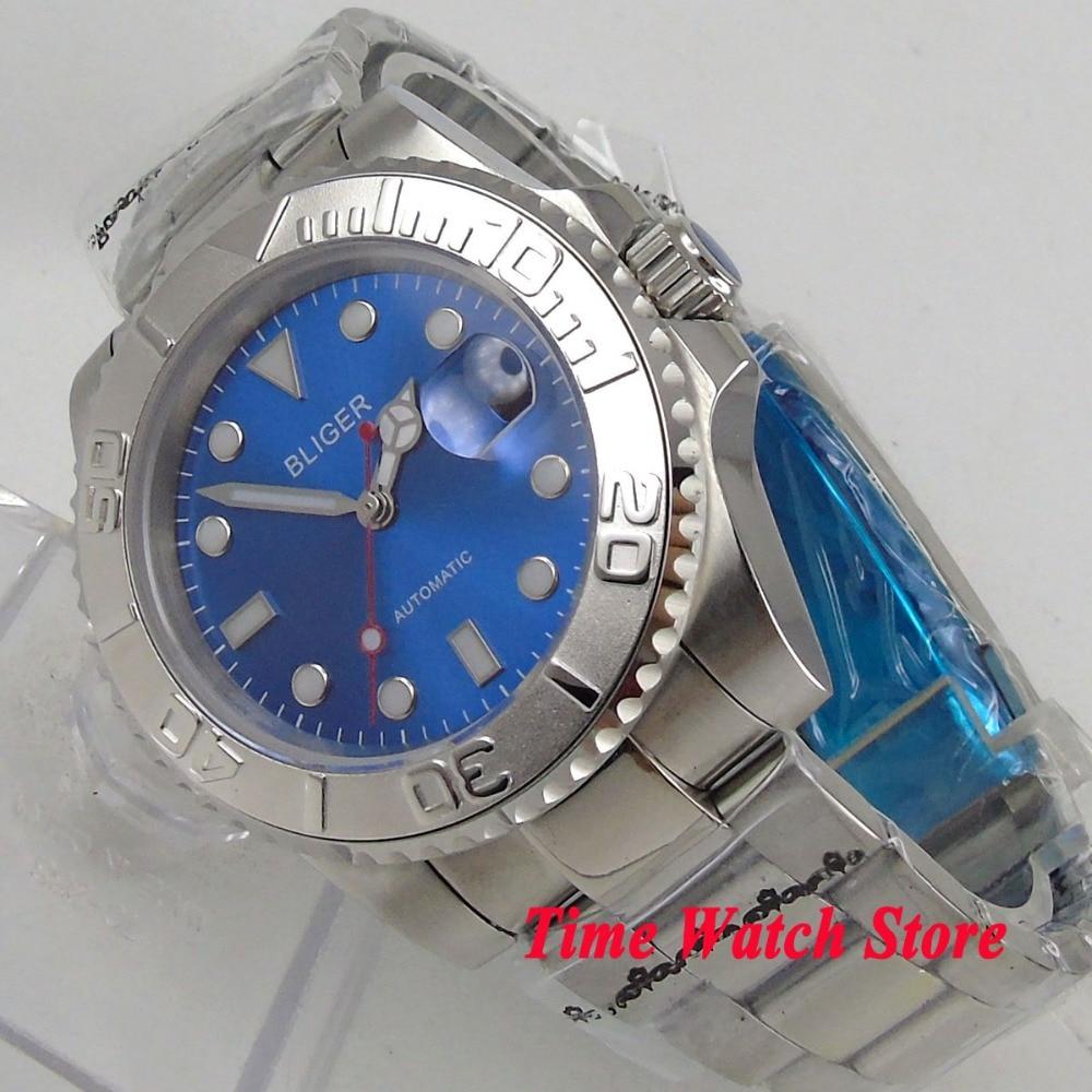 40mm BLIGER men's watch saphire glass Royal blue dial super luminous Ceramic Bezel Automatic movement wrist watch men 117 цена и фото