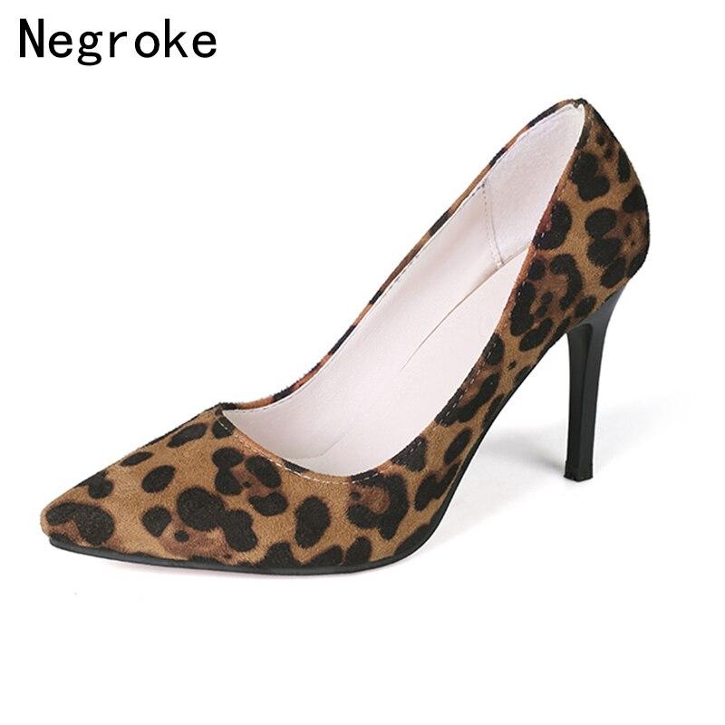 9b3bacc5c4719 Sexy de leopardo de las mujeres bombas tacones punta Oficina dama ...