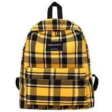 Menghuo Cotton Fabric Women Plaid School Backpack Travel