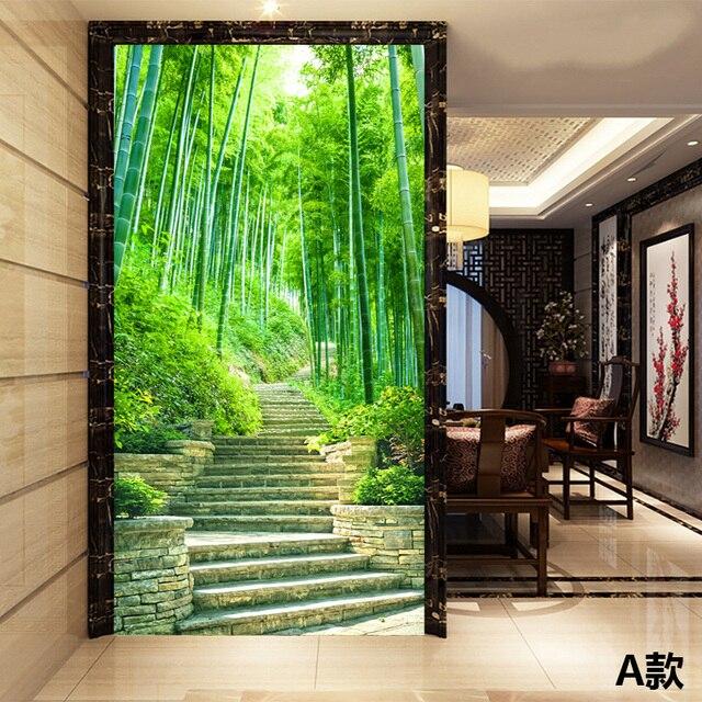 Custom Photo Wallpaper Scenic Mural Bamboo Forest Road Corridor Living Room