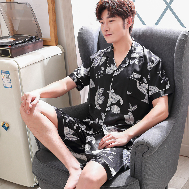 Summer Short Sleeve Men Pyjama Set Imitate Silk Polyester Men Pajama Suit Satin Print Pajama Man Sleepwear Pajamas Nightgown 3XL