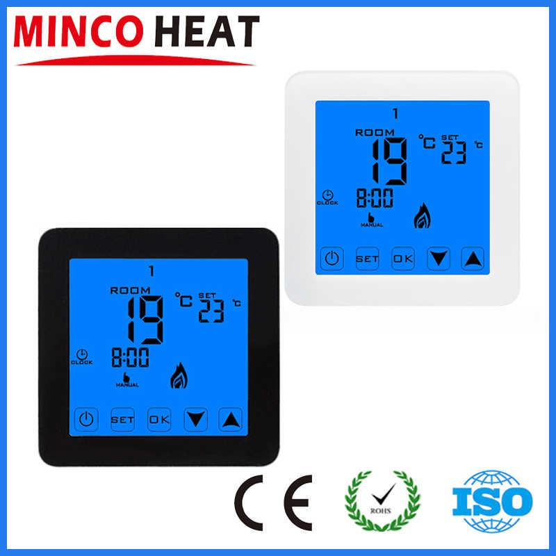 MINCO ความร้อน Thermoregulator LCD อุณหภูมิห้อง Thermostat สำหรับเครื่องทำความร้อนชั้น