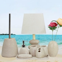 5in1 set Set sand color Resin Bath Ensemble Bathroom Set Soap Dish Lotion Dispenser Toothbrush Holder cup with lamp Tray vase