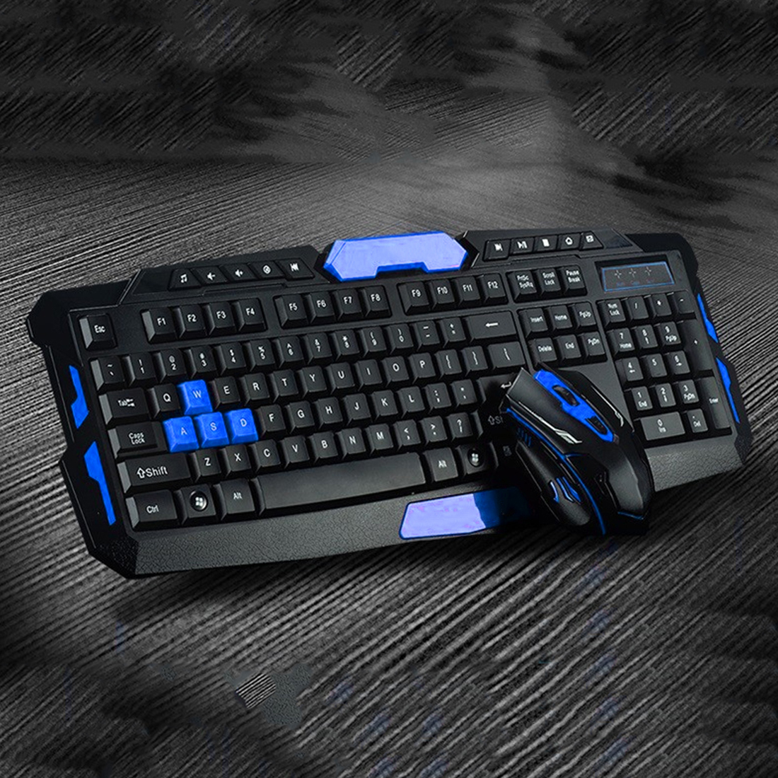 NOYOKERE USB Wireless Keyboard Mouse Set 2.4Ghz 1600DPI Gaming Gamer Mice Multimedia Waterproof for Computer PC desktop