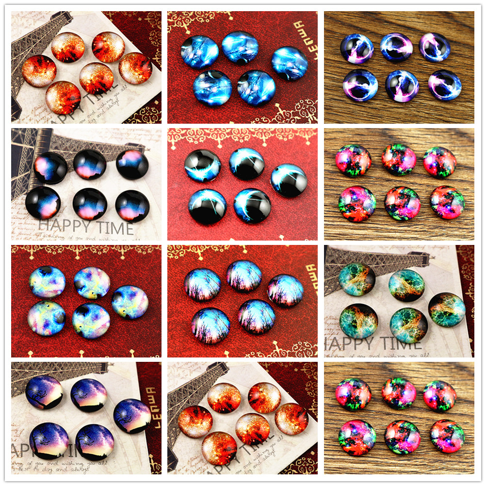 Hot Sale 20pcs 12mm Handmade Photo Glass Cabochons (Nebula Style)