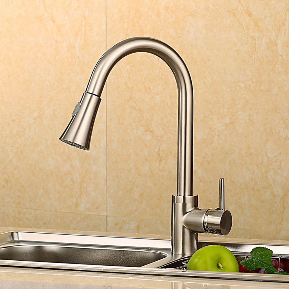 Silver Single Handle Kitchen Faucet Mixer Pull Out Kitchen Tap Single Hole  Rotate Copper Chrome Swivel Sink Mixer new pull out sprayer kitchen faucet swivel spout vessel sink mixer tap single handle hole hot and cold