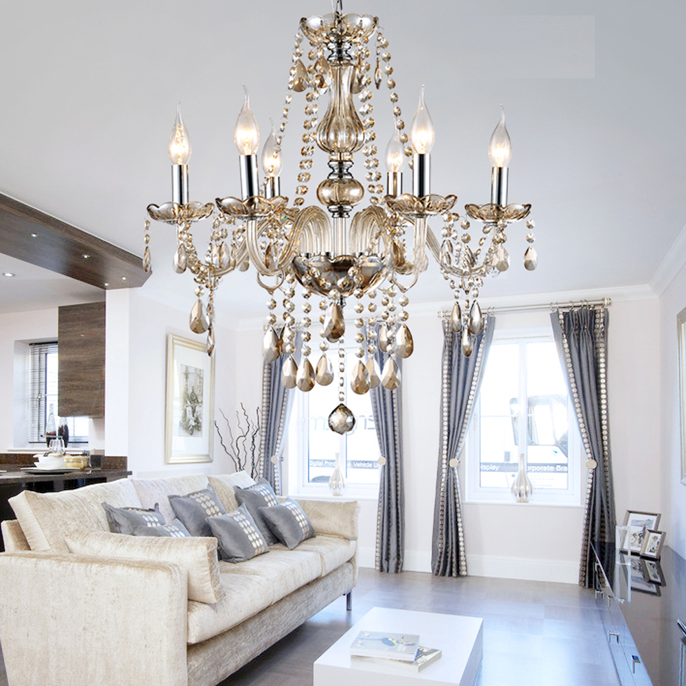 Mamei free shipping modern 6 lights amber crystal chandelier lighting fixtures with lamp shade for dinning room and bedroom on aliexpress com alibaba