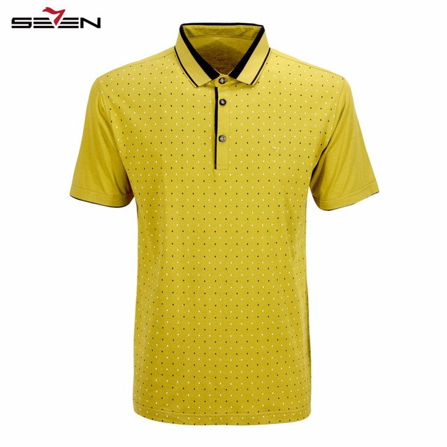 Seven7 Марка Классический Мужчины Polo Рубашки С Коротким Рукавом Тонкий Моды Геометрия Графический Печати Высокого Качества Polo Рубашки 108T50120