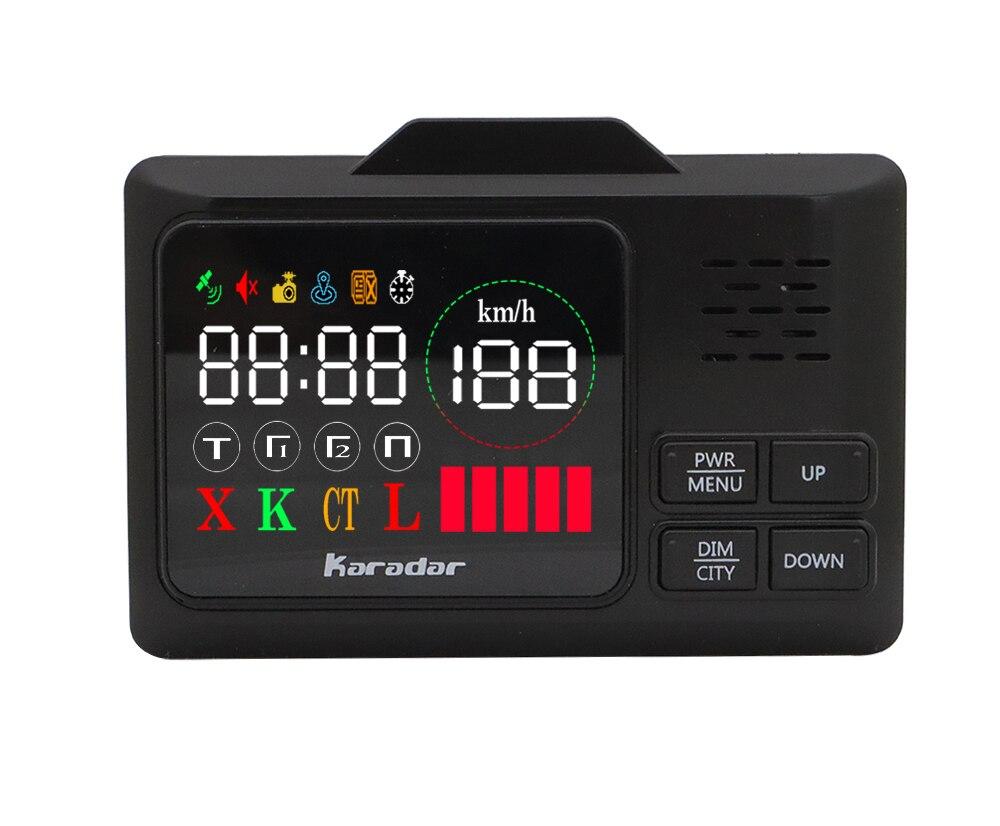 2 em 1 Karadar GPS Do Carro detector anti radar de Velocidade Da Polícia GPS para Russo Display LED 360 Graus X K CT L com 2.4 polegada display
