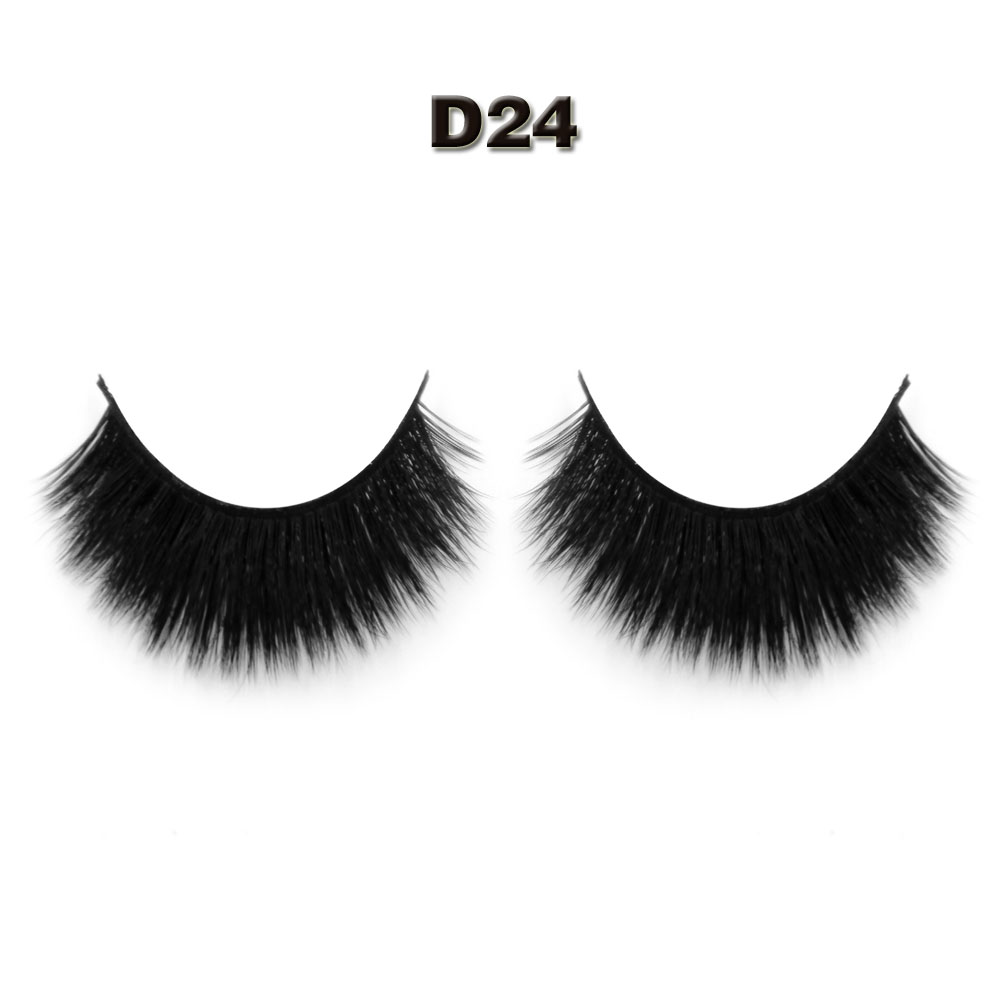 worldbeauty 1 pair/lot 3D False Thick Eyelashes 100% Handmade 3d silk strip lashes D24 women Make up eyelash extention