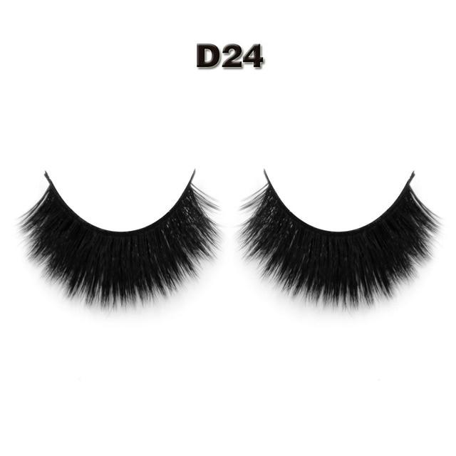 worldbeauty 1 pair/lot 3D False Thick Eyelashes 100% Handmade  3d silk strip lashes D24 women Make up eyelash extention