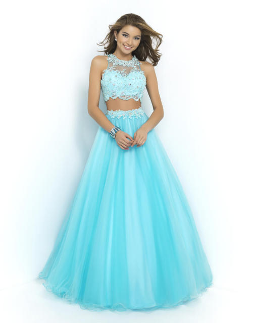 Two Piece Prom Dress Lace Beaded Light Purple Blue Dress For Women ...