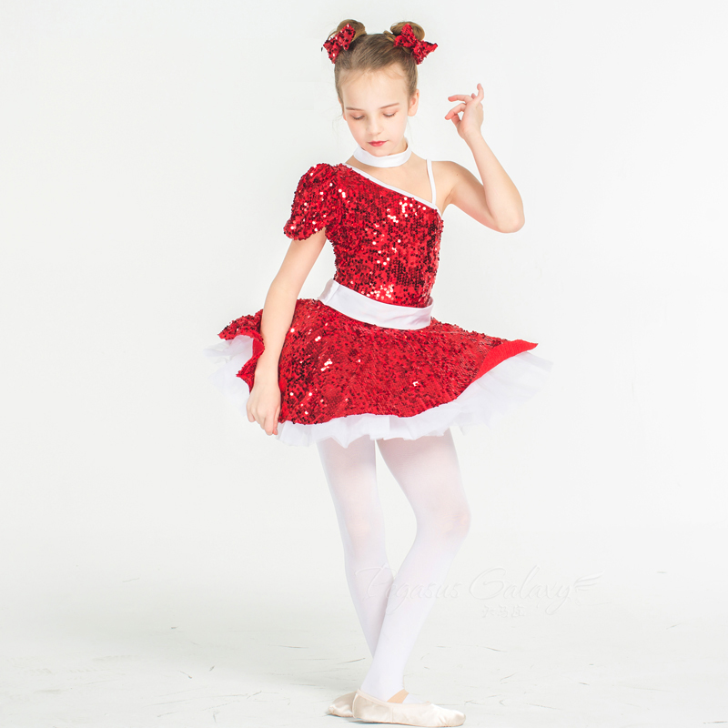 Red Children Girl Kids Ballet Dance Dress Sequins Ballerina Costume Adult Performance Stage Show Clothes Swan Lake Costumes