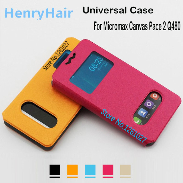 Micromax Q480 Cases Cover PU Leather 5.0 inch Case For Micromax Canvas Pace 2 Q480 case Universal 2 Window Flip Stent Cover