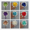5pic/lot customize groom corsages and boutonniere wedding silk flowers boutonniere pin party wedding man suit lapel flower