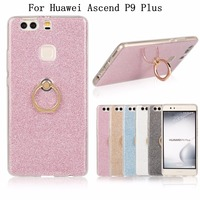 Soft TPU Case For Huawei Ascend P9 Plus P9Plus Silicone Back Skin Cover Bling Glitter Metal Ring Stand Mobile Phone Cases