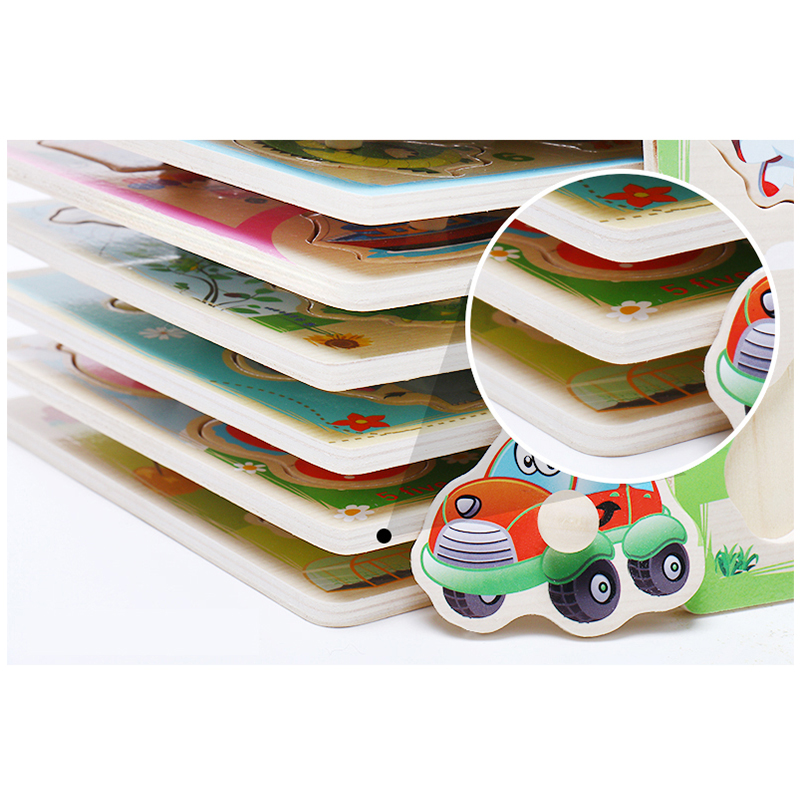 Baby Toys Montessori Wooden Puzzle Cartoon Vehicle Marine Animal Puzzle Jigsaw Board 12 Set Educational Wooden Toy Child Gifts 5