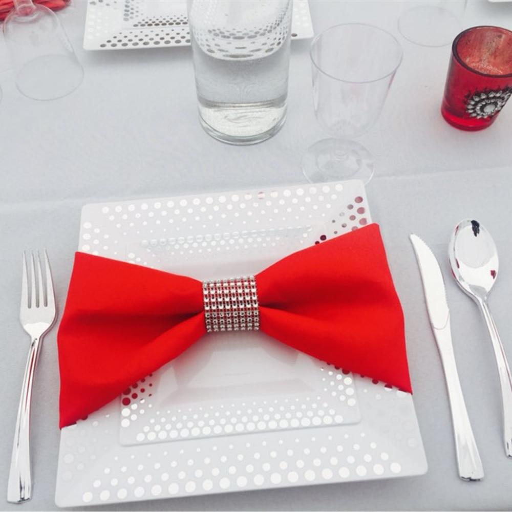 10Pcs/lot Diamond Napkin Rings For Wedding Napkin Holders Rhinestone Chair Sashes Banquet Dinner Christmas Home Table Decoration