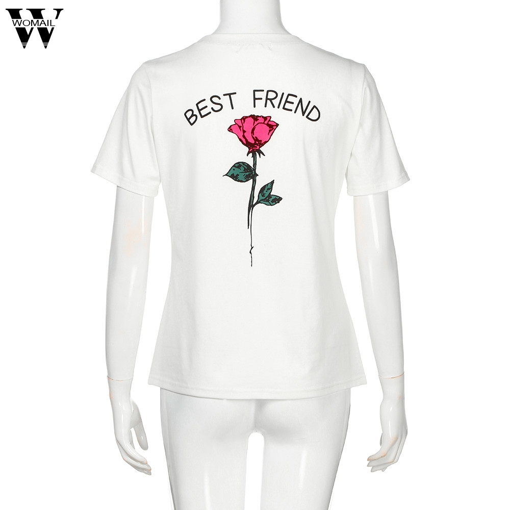 WOMAIL Women Best Friend Letters Rose Printed T Shirts Causal Tops T Shirt Female Ployester Apl26 W20d30 Drop Ship