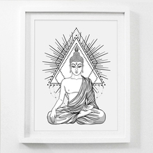 Sitting Buddha Wall Art Print And Poster , Hand Drawn Religion Buddha Statue Canvas Painting Wall Picture Home Decor